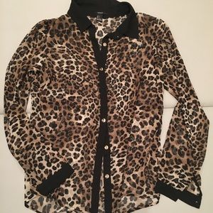 Sheer leopard blouse small